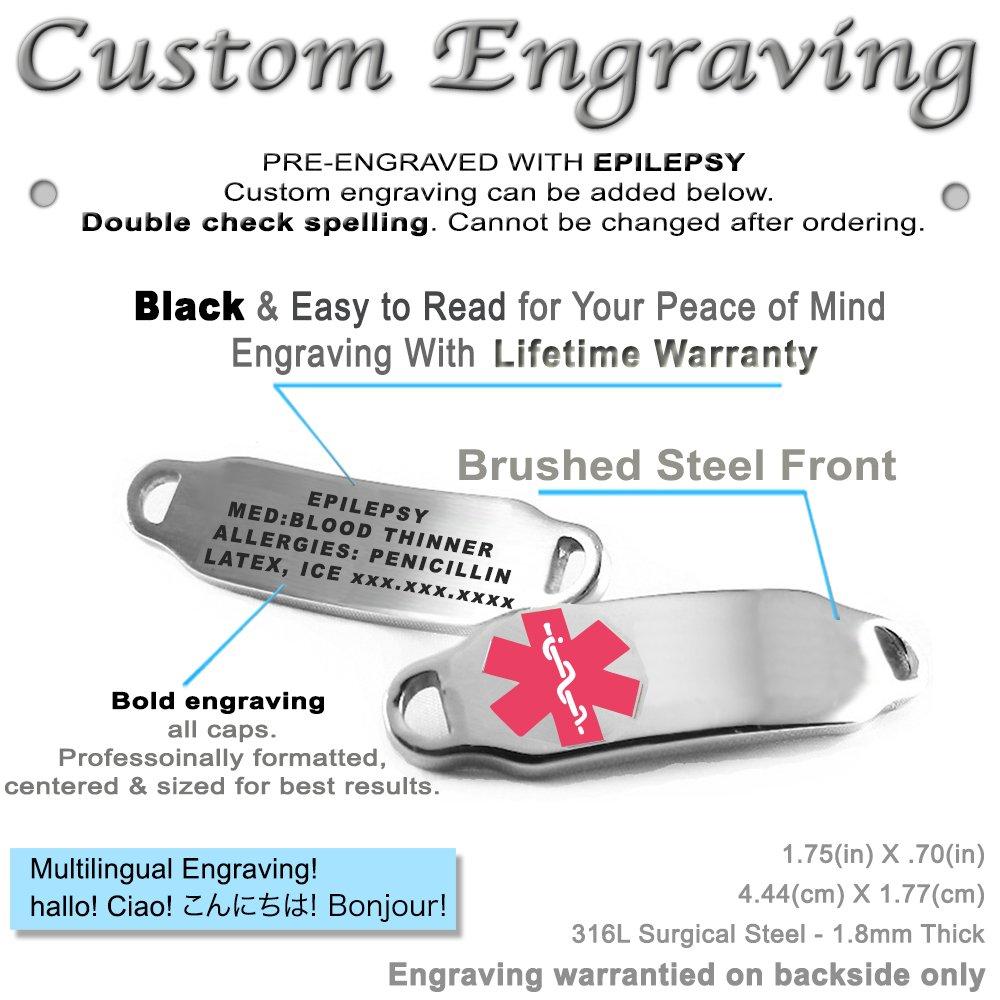 My Identity Doctor Pre-Engraved /& Customized Epilepsy Medical Bracelet Black//White Millefiori Glass Pattern Pink