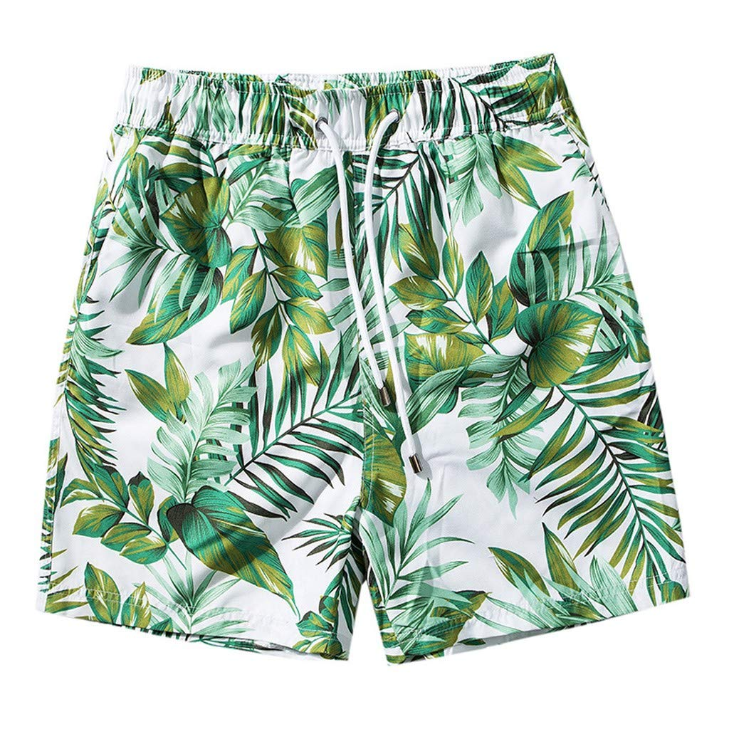 Fiaya Mens Swimwear Running Surfing Sports Beach Leaves Print Shorts Trunks Board Pants