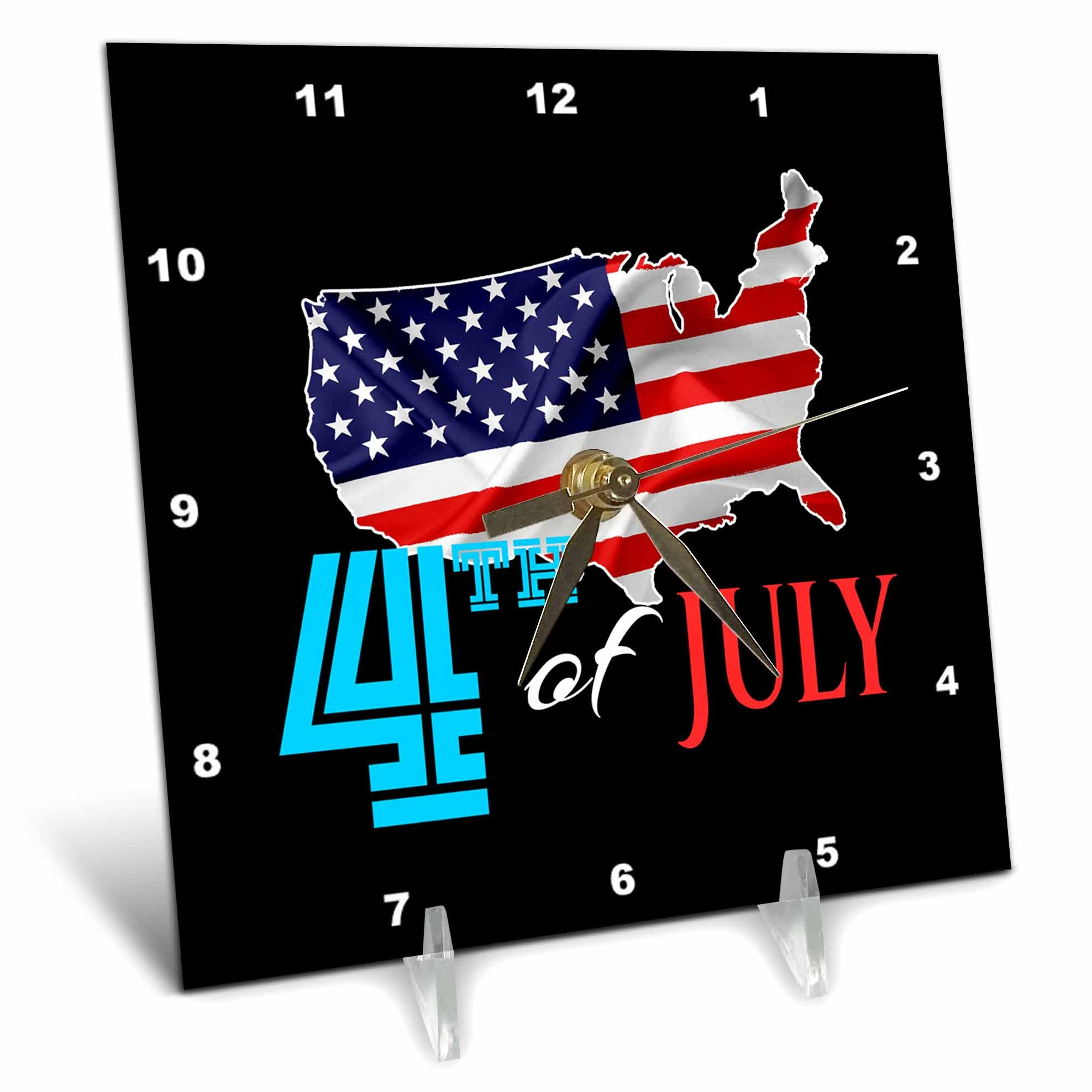 3dRose Alexis Design - America - America Independence Day 4th of July. Map, flag, text on black - 6x6 Desk Clock (dc_281213_1)