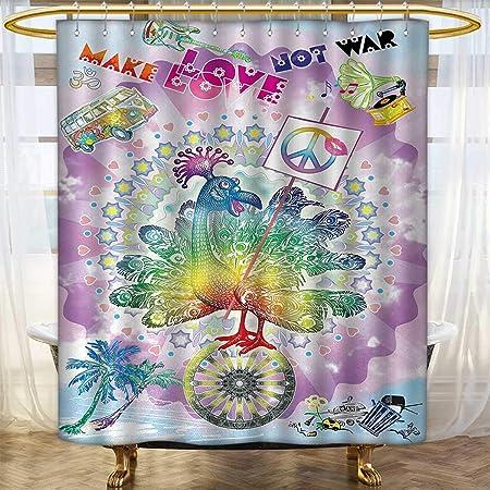 Anhounine Hippie Shower Curtains Sets Bathroom Funny Peacock Make Love Not War Quote Flower Children