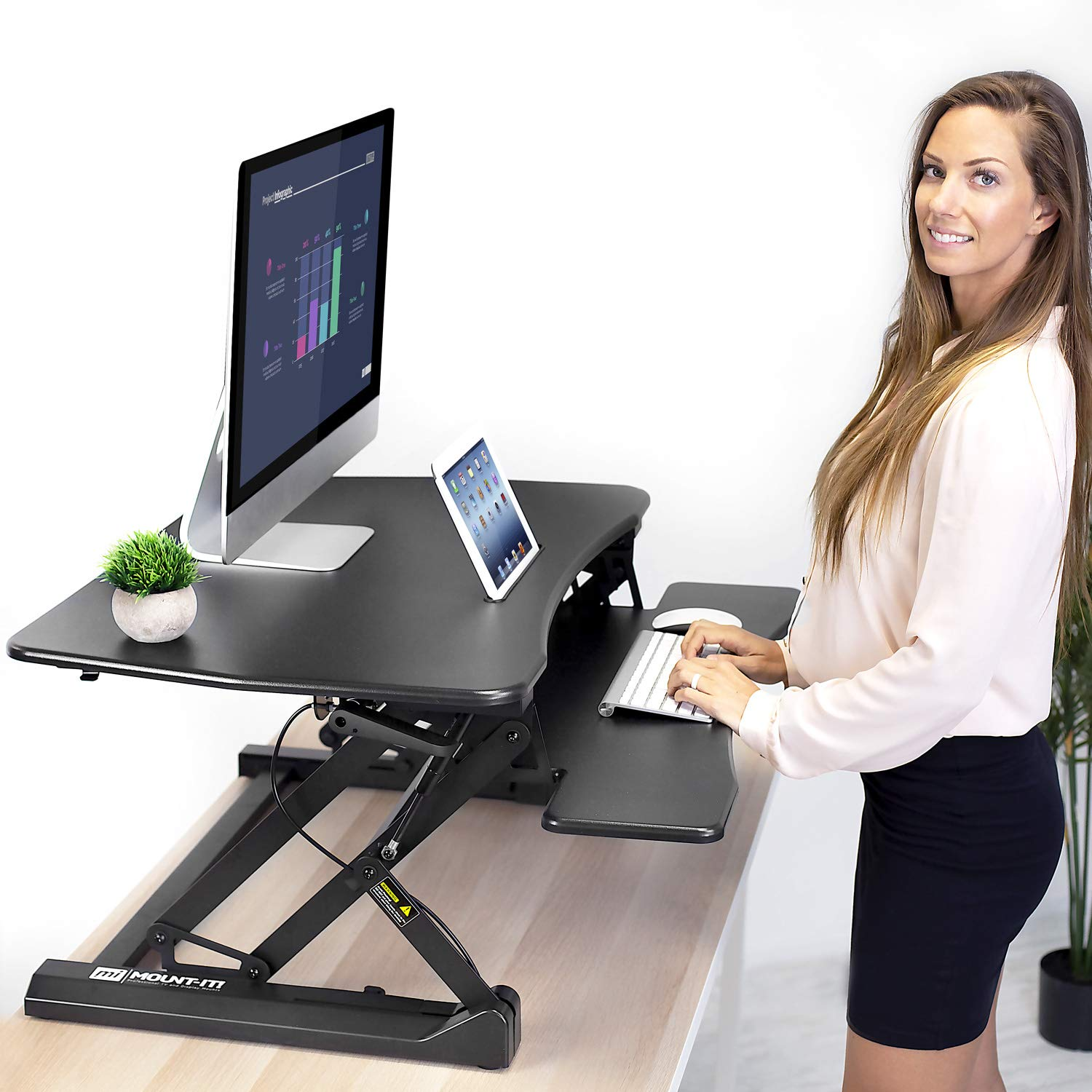 "Mount-It! Height Adjustable Standing Desk Converter | 35"" Wide Desktop 