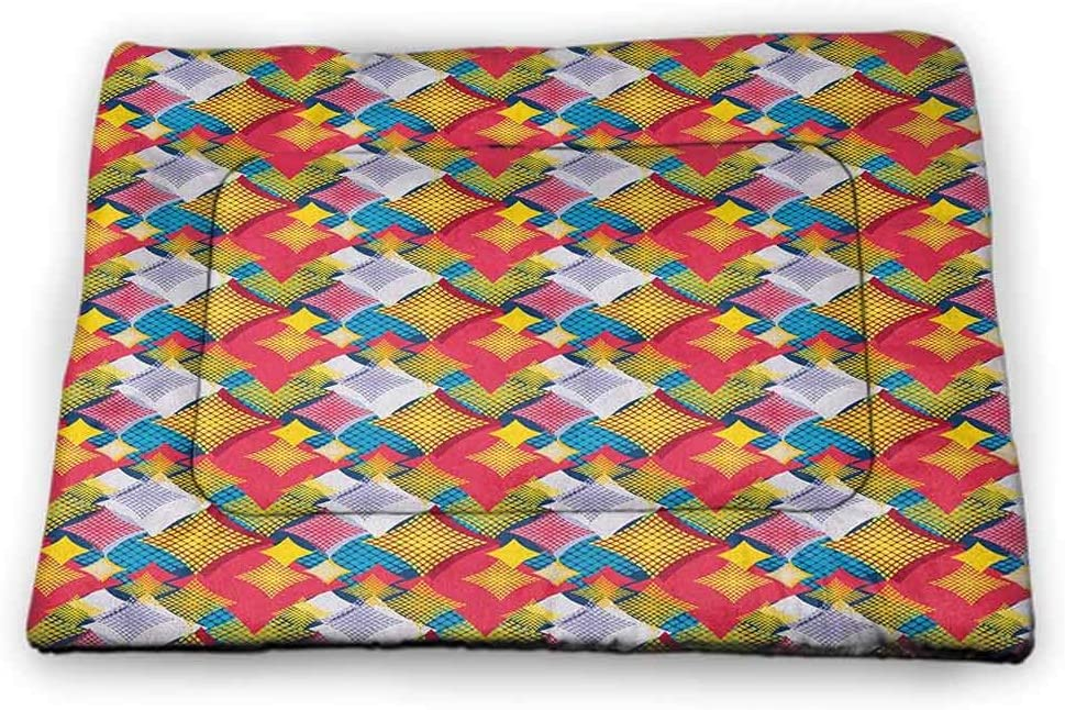 Abstract Pet Food Mat Style Geometric Hexagon with Arabesque Folk Effects Composition pet Bed for Crate Multicolor
