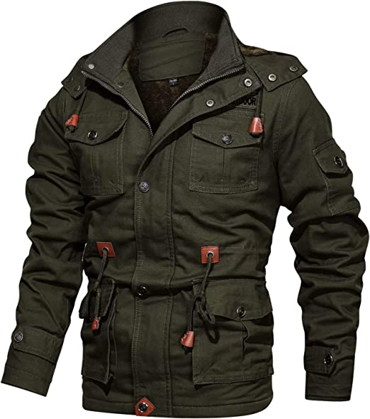 BIYLACLESEN Men's Winter Cotton Cargo Jackets 8 Pockets Windbreaker Fleece  Lined Coat Stand Collar Work Jacket at Amazon Men's Clothing store