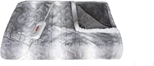 Luxe Faux Fur Soft Plush 100% Animal-Free Electric Throw Heated Blanket with Uniform Heating, 8.5' Power Cord, Handheld Controller with 4 Heat Settings, Grey, 50 x 60 in