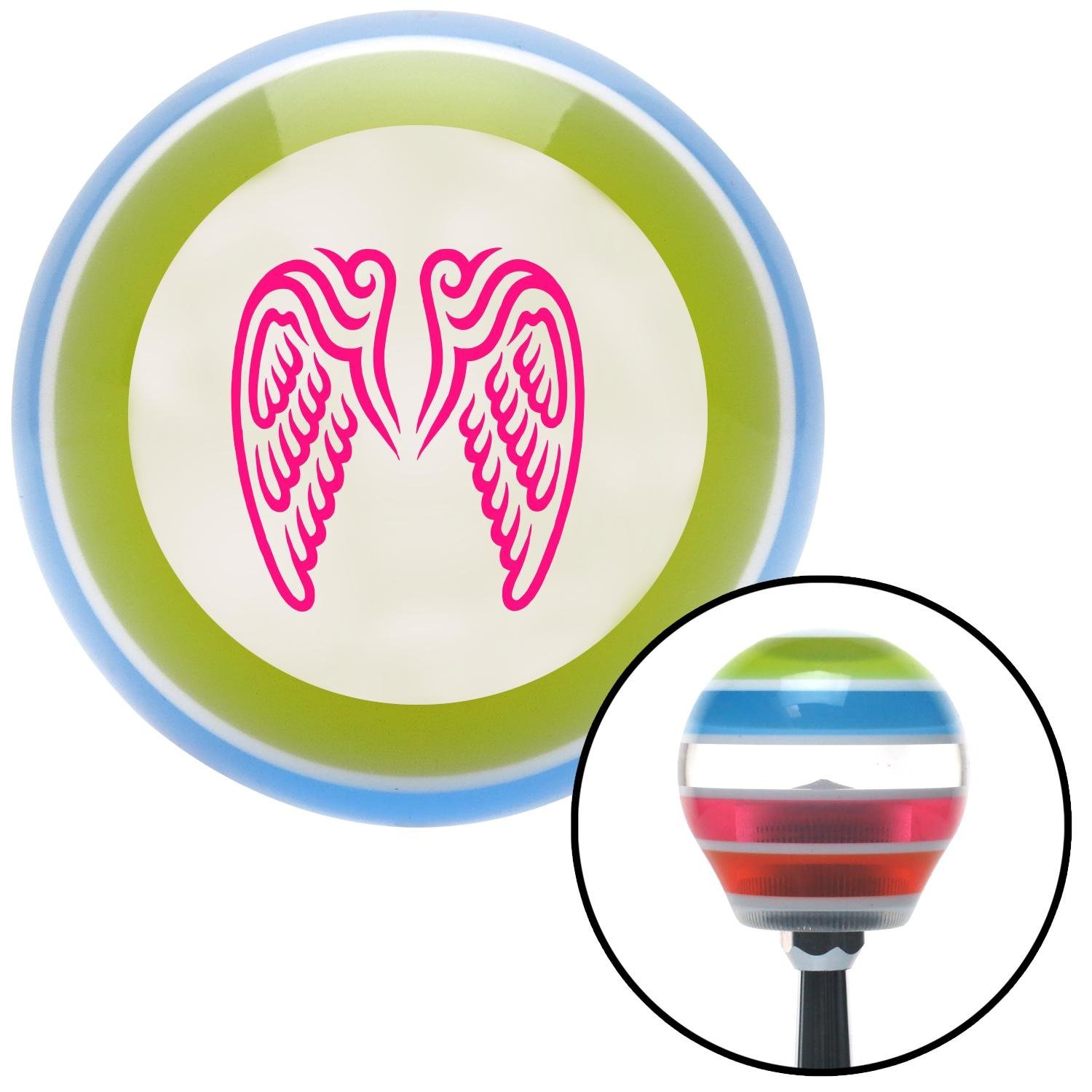 American Shifter 132085 Stripe Shift Knob with M16 x 1.5 Insert Pink Angel Wings