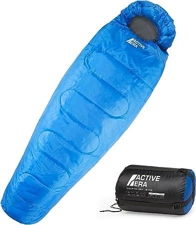 Active Era Saco de Dormir Profesional 300 Tipo Momia, 3-4 Estaciones, Ideal para Camping y Excursiones