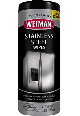 Weiman Wmn 92 CT Limpiador de Acero Inoxidable, 3 cm de diámetro, 7 cm de Ancho, 8 cm de Largo, 30 por Canister, 30 Count