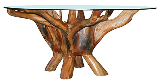 Amazon.com: CHIC TEAK Teak Root Coffee Table Including 43 Inch Round Glass  Top Made: Kitchen U0026 Dining