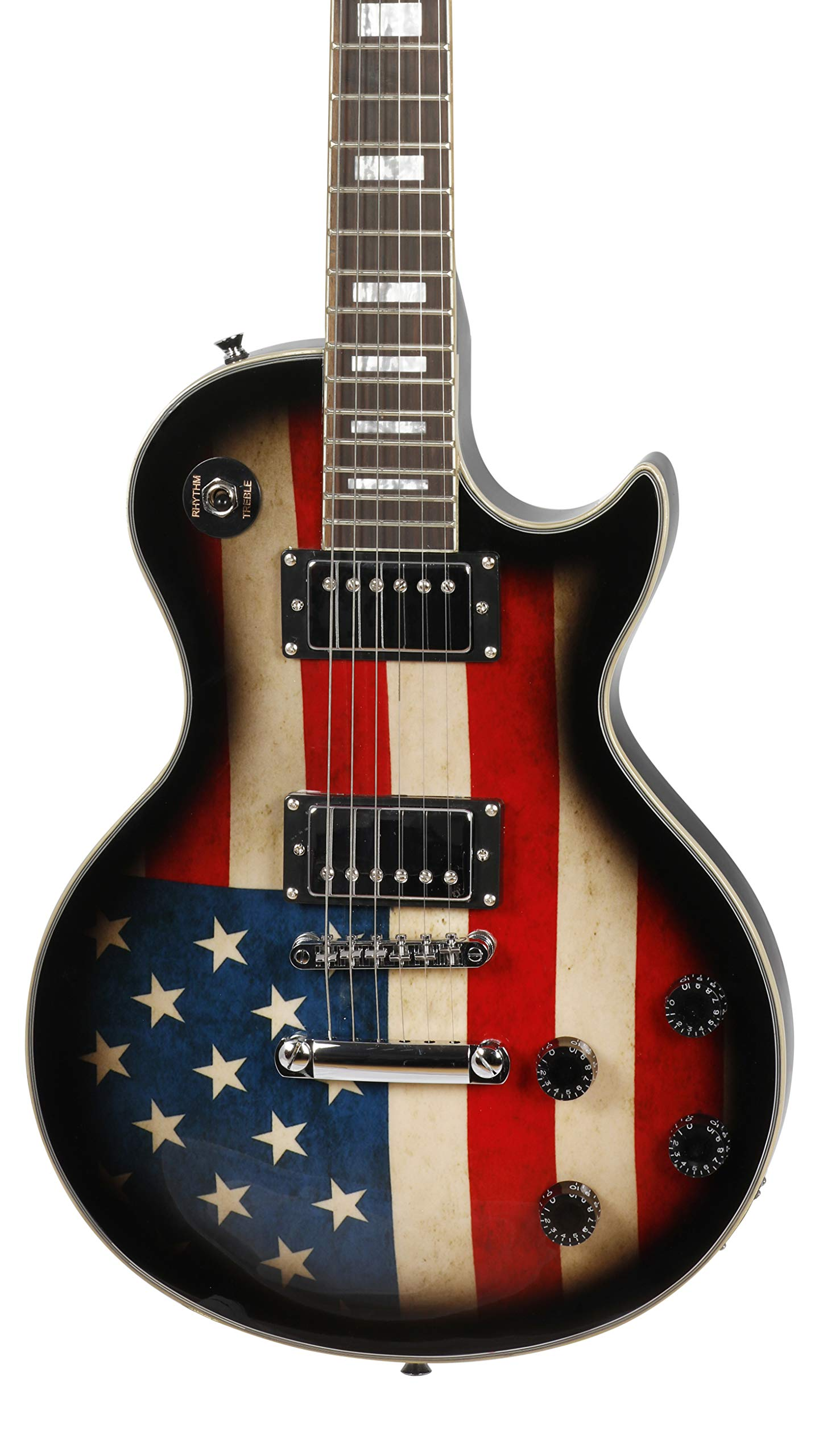 Leo Jaymz Single cut curved top electric guitar 24.72'' scale-US Flag graphic on top and Grover machine heads installed- super light colored ball end string set. by Leo Jaymz (Image #3)