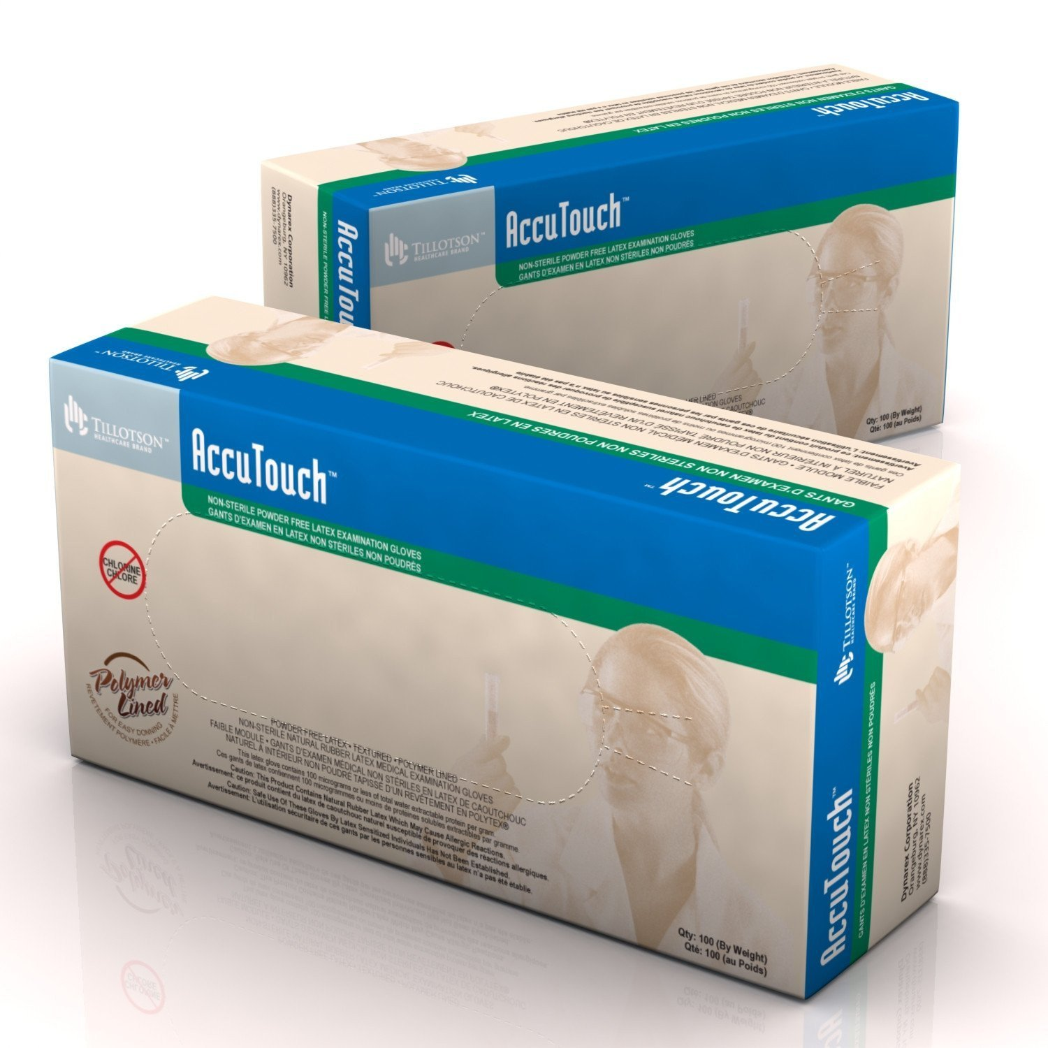 Dynarex 6625  AccuTouch Latex Exam Gloves - P/F PolyLined - X-Lg 10/100/Cs by Dynarex