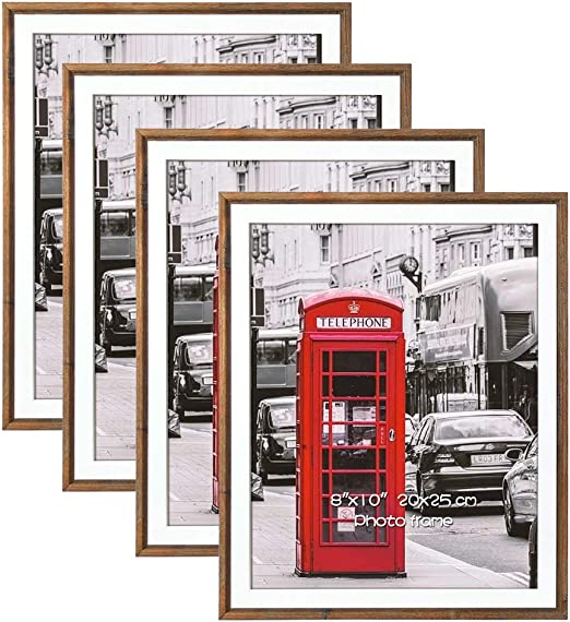 Schliersee 4 Pack 8x10 Simple Elegant Matted Picture Frames,Thin Brown Frames for Posters, Prints, Artwork, Wall Gallery