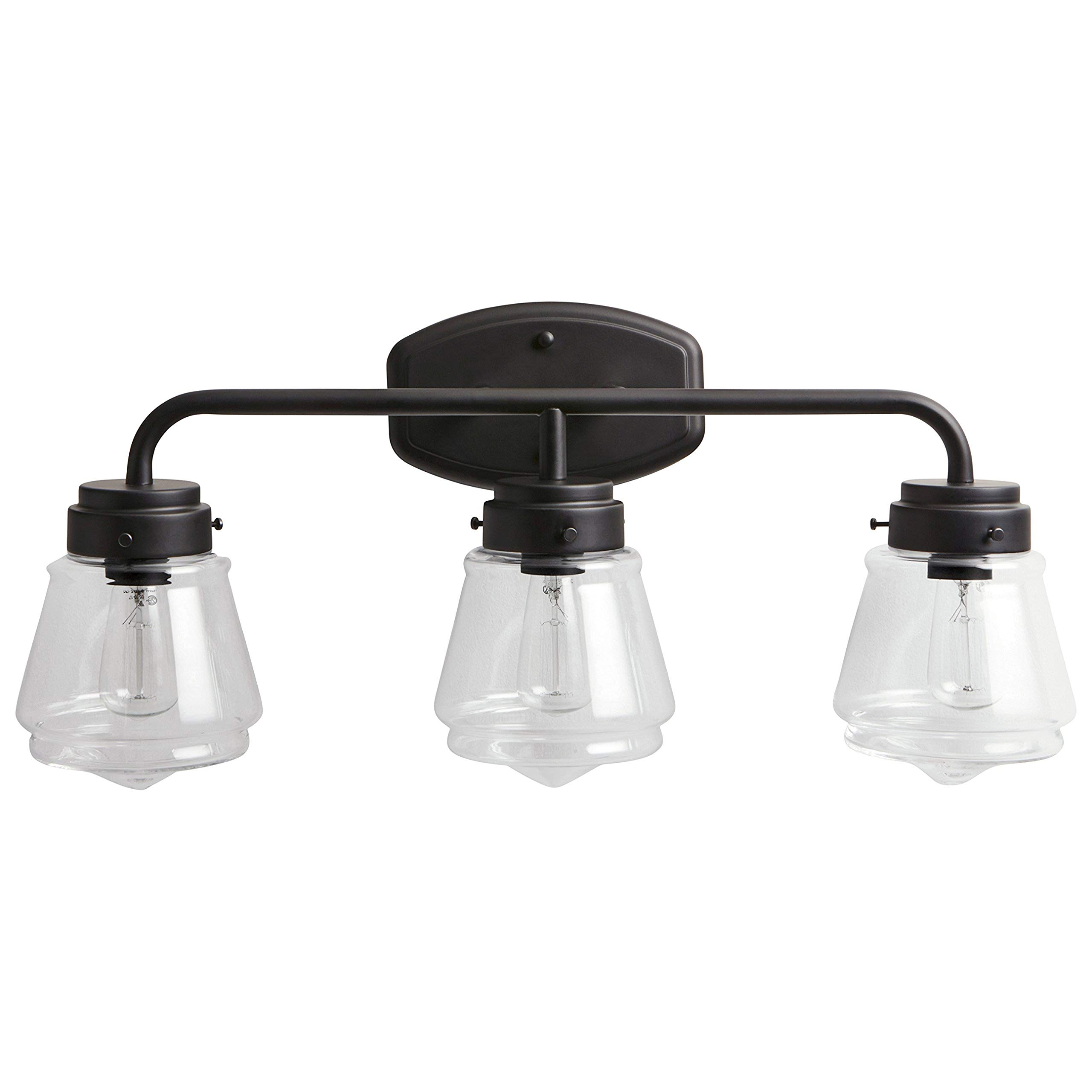 Stone & Beam Vintage 3-Light Vanity Fixture, 11.5''H, With Bulb, Matte Black with Glass Shade by Stone & Beam (Image #1)