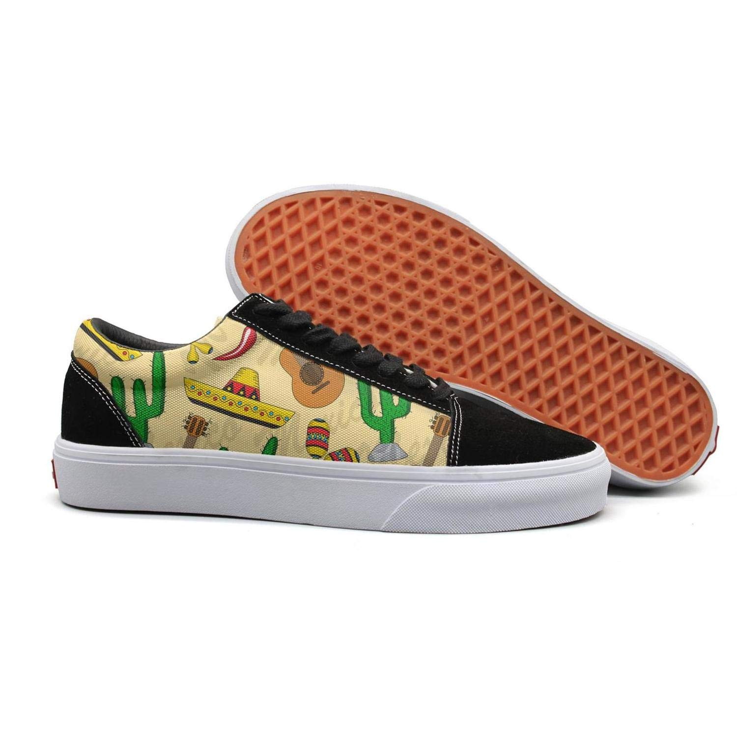 Mexica Cactus and Yellow Mini Guitar Lace Up Loafers Canvas Skate Shoes for Women Casual by Toxeu