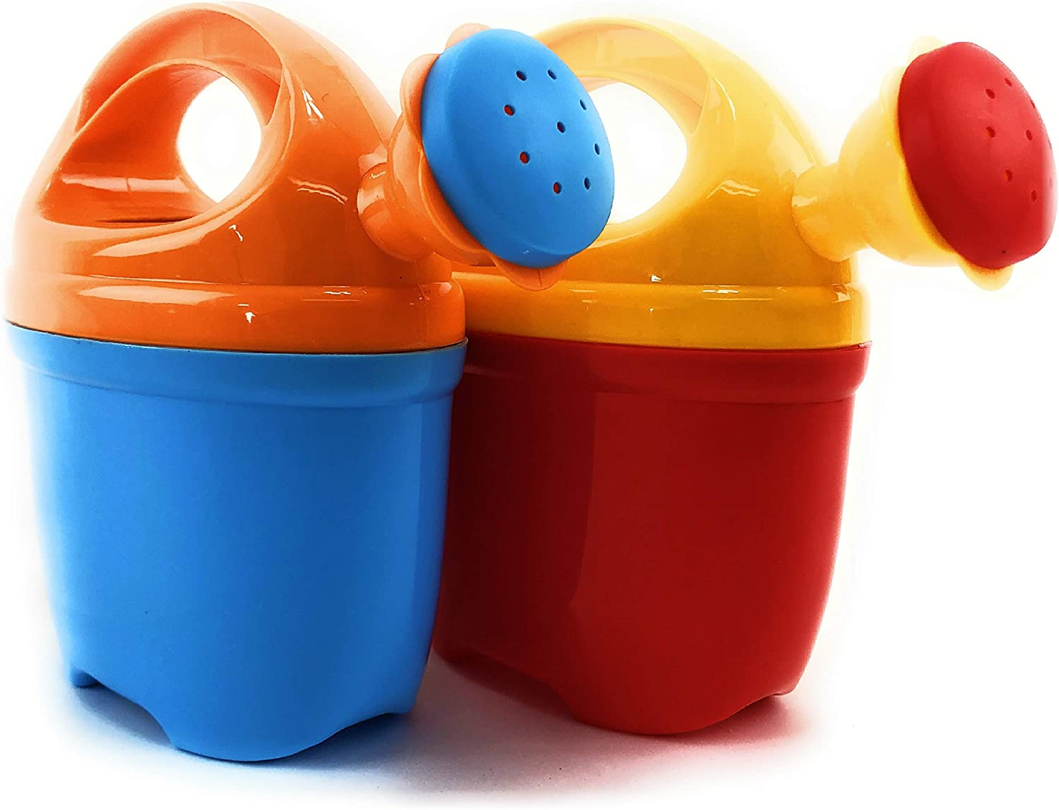 "Matty's Toy Stop 7"" Two Piece Plastic Watering Cans for Kids Blue/Orange & Red/Yellow Gift Set Party Bundle - 2 Pack"