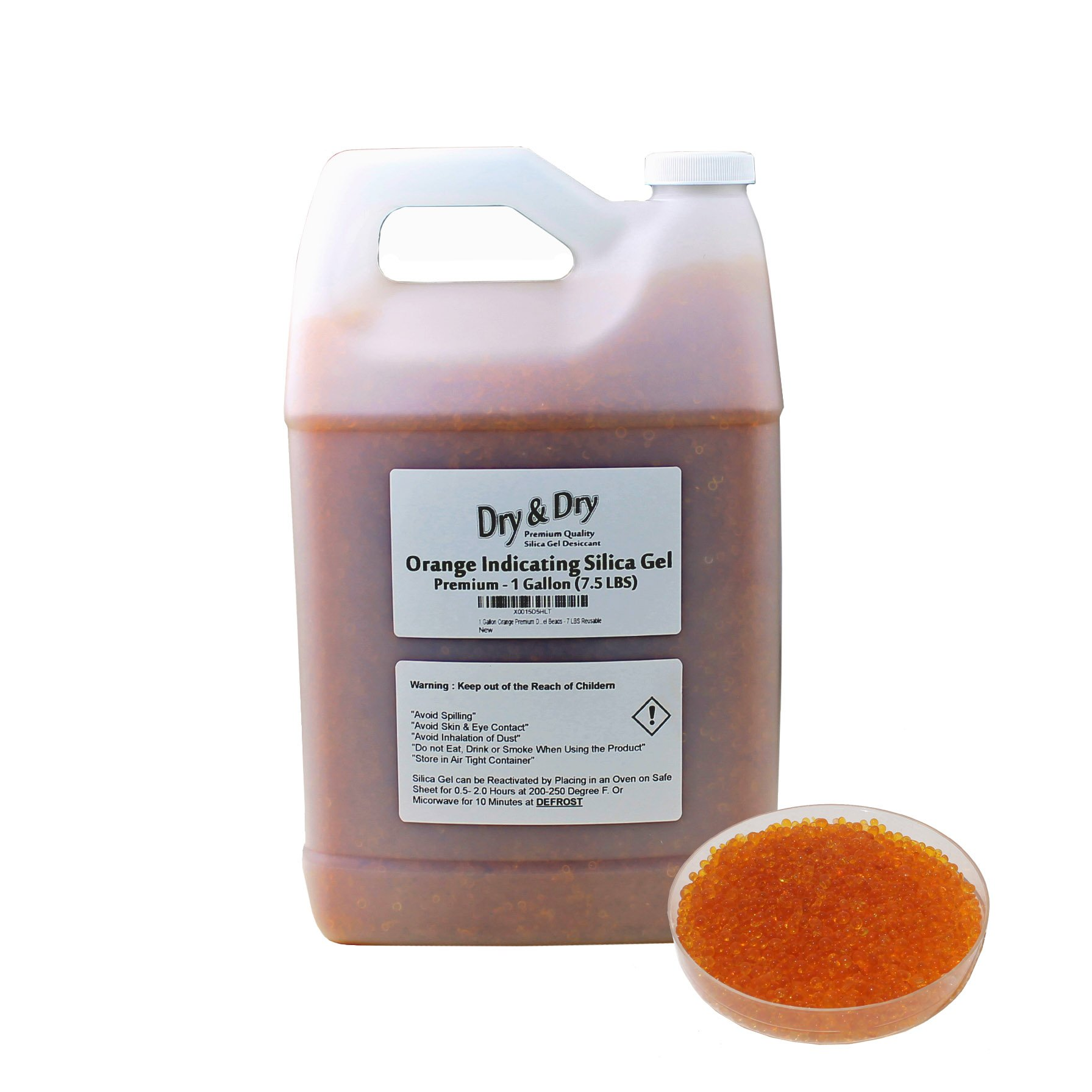 ''Dry & Dry'' [7.5 LBS] Premium Orange Indicating Silica Gel Desiccant Beads(Industry Standard 2-4 mm) - Rechargeable(1 Gallon)