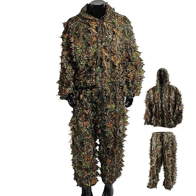 Amazon.com: Uheng - Traje de camuflaje 3D con capucha de ...