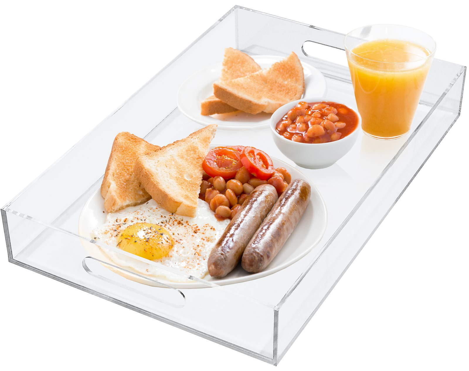 Estilo Premium Acrylic Serving Tray with Handles for Breakfast, Coffee Tables, Serving Food or Decorative Display