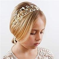 SWEETV Flower Girl Headband for Wedding, Baby Girl Flower Pearl Hair Piece, Gold Headpiece for Birthday Party…