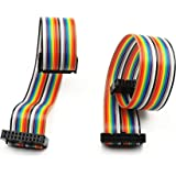 Uxcell a15040700ux0295 20 Pin 20 Way F//F Connector Rainbow Wire IDC Flat Ribbon Cable 48cm