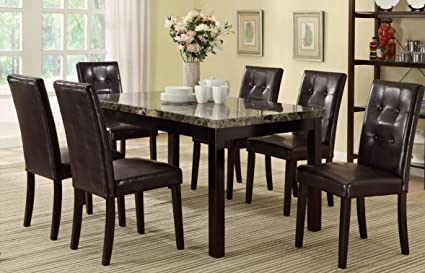 Amazon.com - Poundex PDEX-F2093-F1078 7 Piece Casual Dining Set ... 236fcd28f564