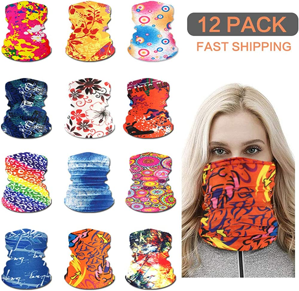12 Pack Seamless Bandana Face Cover Magic Face Scarf Motorcycle Neck Gaiter for Women/Men Hiking Running Riding