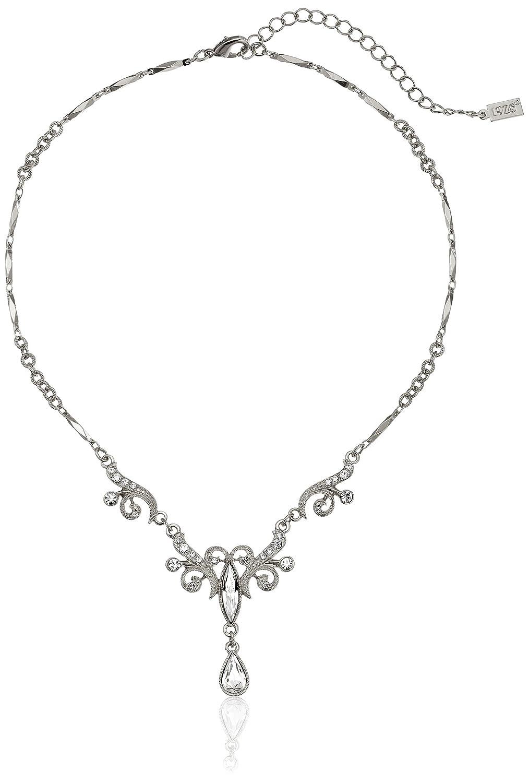 1928 Jewelry Crystal Teardrop Y-Shape Necklace, 15 15 45604