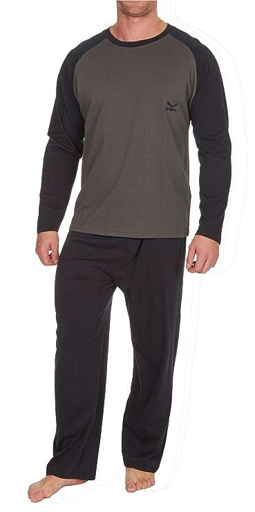 e38d440a93fe8a Insignia Herren Pyjama Set Langarm-Top & Hosen Baumwoll Schlafanzug:  Amazon.de: Bekleidung