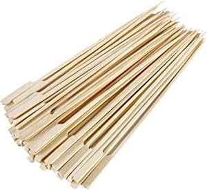 """Gmark Bamboo Paddle Skewers 8"""" 100pc/Bag, Kabob Skewers, BBQ Skewers for Outdoor Grilling GM1076"""