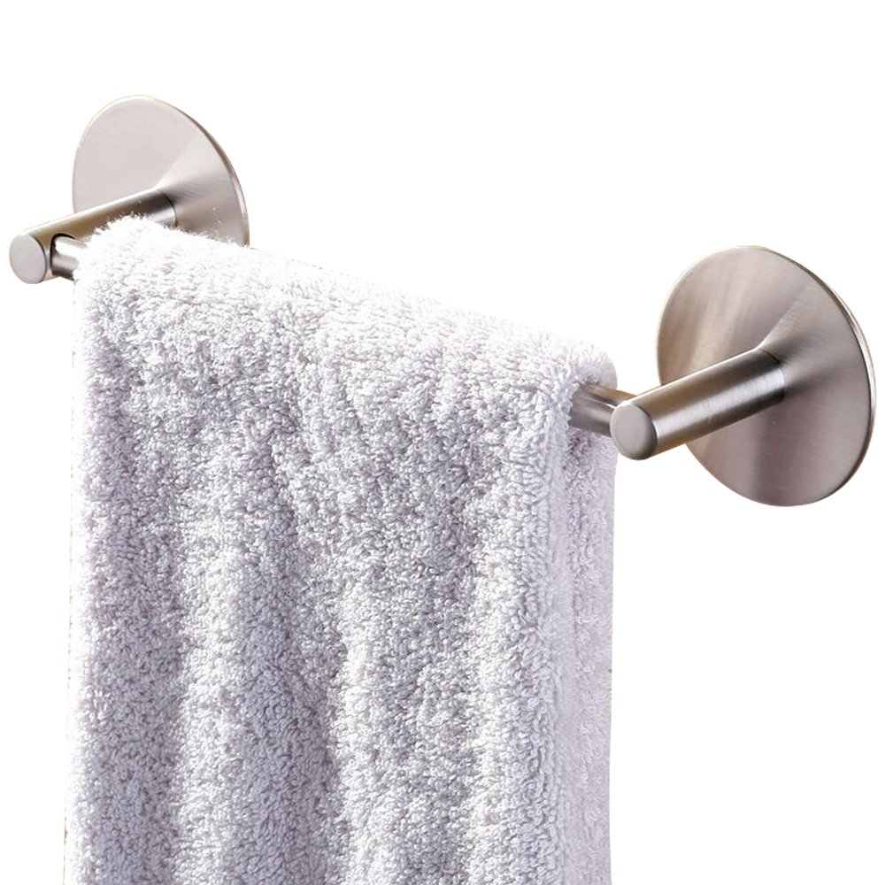 BigBig Home Towel Holder for Kitchen Bath Towel Bar Strong 3M Self Adhesive Brushed Nickel, 16 Inch No Drilling Premium Stainless Steel Hand Dish Towel Rack by BigBig Home