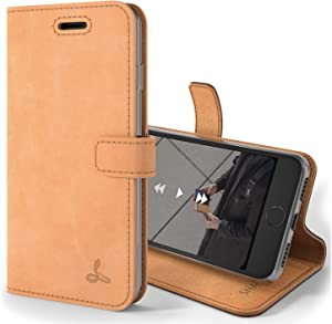 Snakehive Vintage Wallet for Apple iPhone 8    Real Leather Wallet Phone Case    Genuine Leather with Viewing Stand & 3 Card Holder    Flip Folio Cover with Card Slot (Burnt Orange)