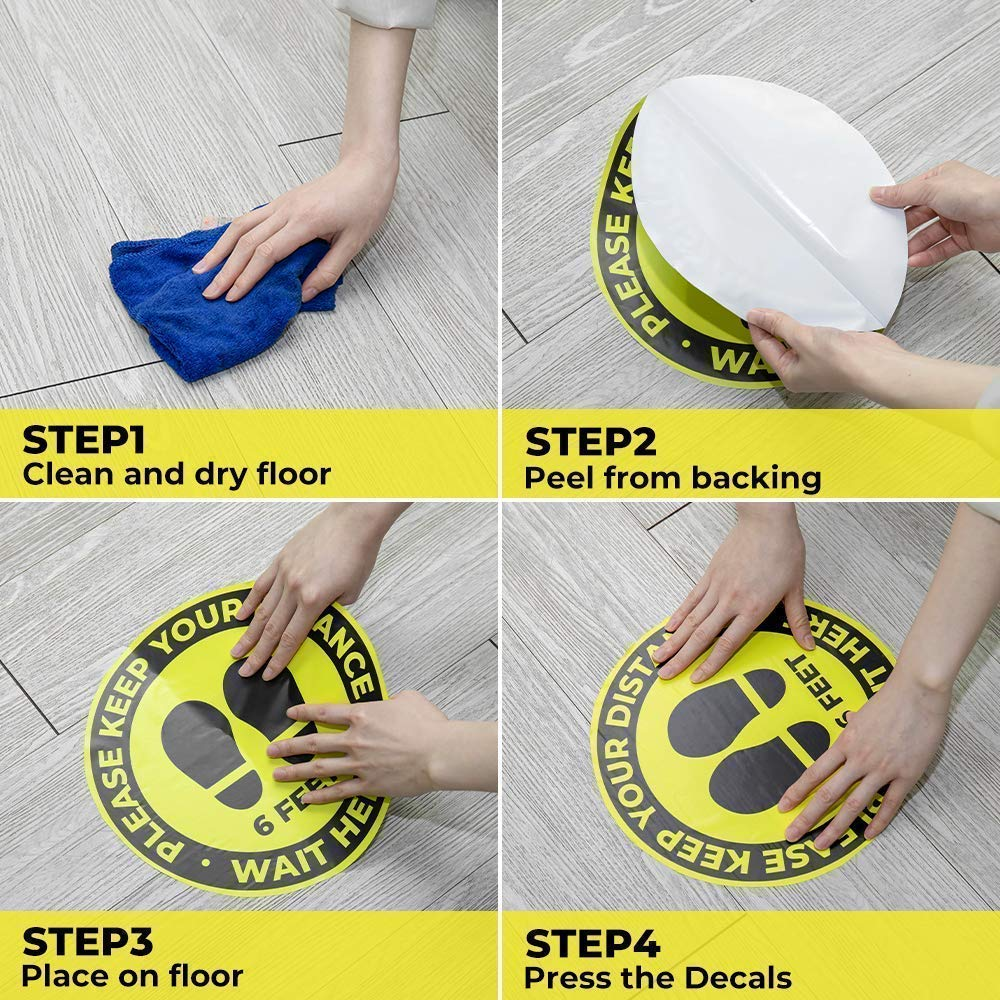 10 Pack 11 Social Distancing Floor Signs+5 Pack 8 Please Wear Face Mask Sign Sticker
