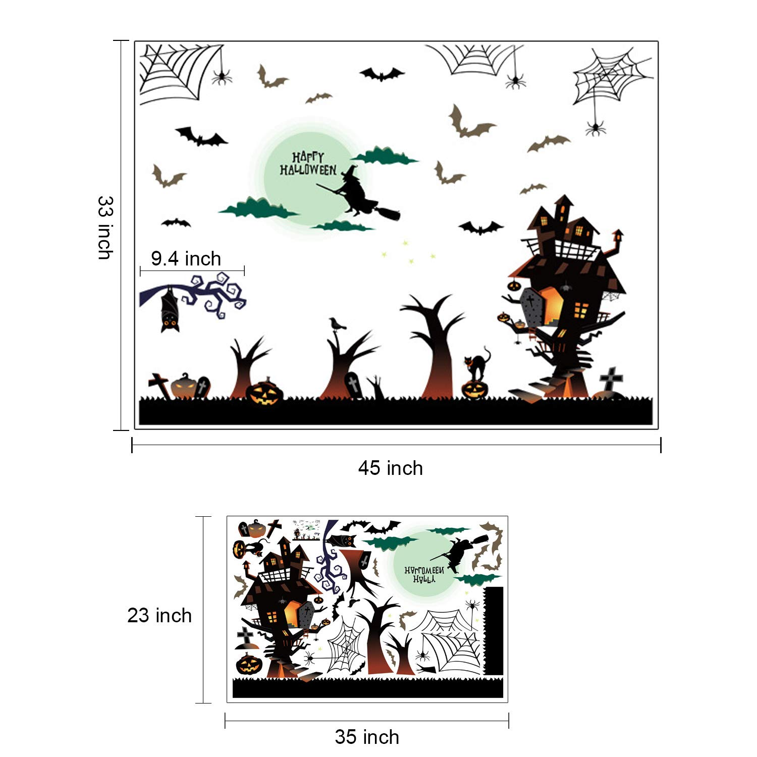 Type 2 Eichzhushp Happy Halloween Pumpkins Spooky Cemetery Witch and Bats Tomb Wall Decals Window Stickers Halloween Decorations for Kids Rooms Nursery Halloween Party