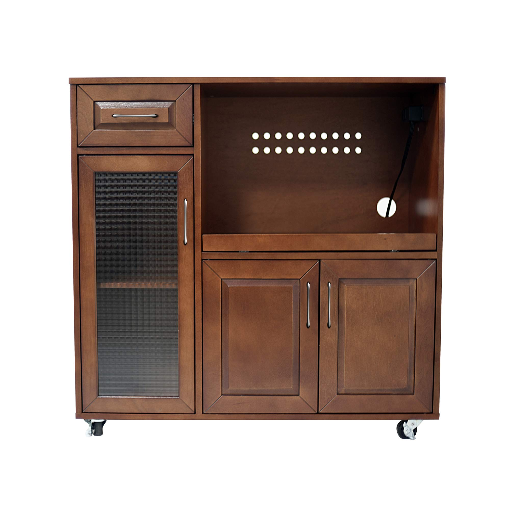 NBLiner Natural Wood Kitchen Enclosed Cabinet Space, Storage, Walnut