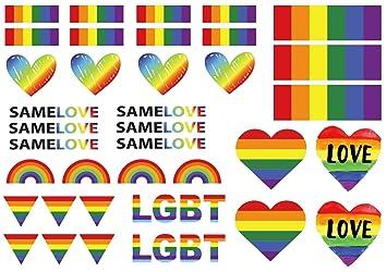 d784f5e2cad89 Amazon.com : Gay Pride LGBT Rainbow Temporary Tattoos By ASVP Shop : Beauty