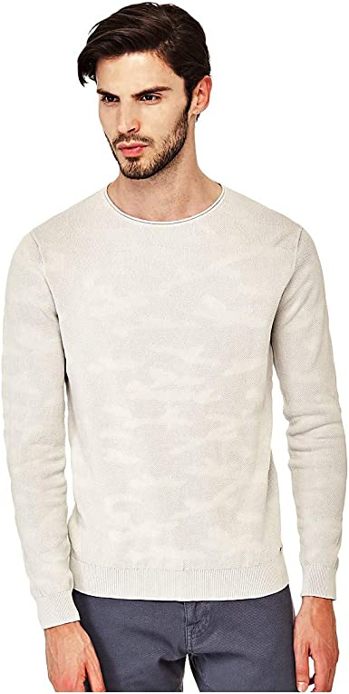Guess LS RN Camou Knit Fra Jersey para Hombre
