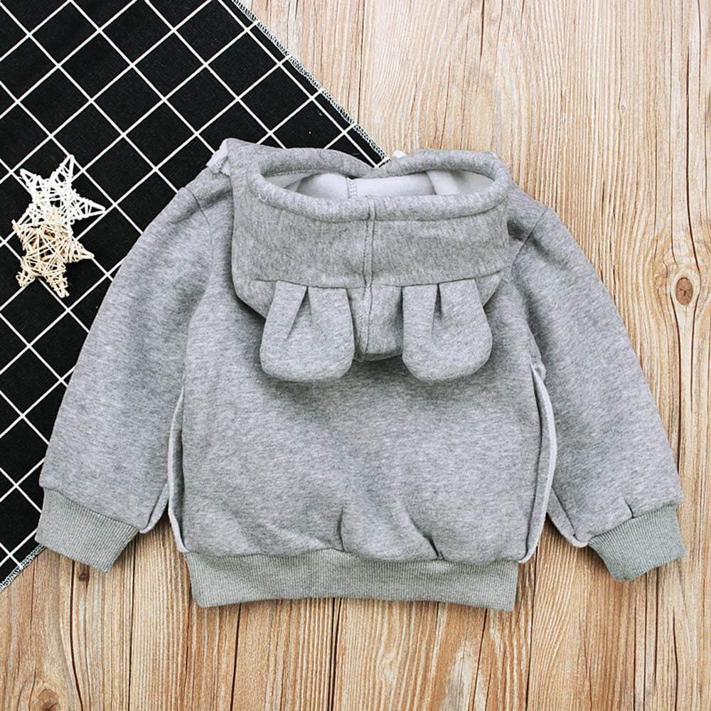 Toddler Baby Girls Boys Long Sleeve Pure Color Cartoon Ear Hoodie Design Cute Tops Sweatshirt Clothes