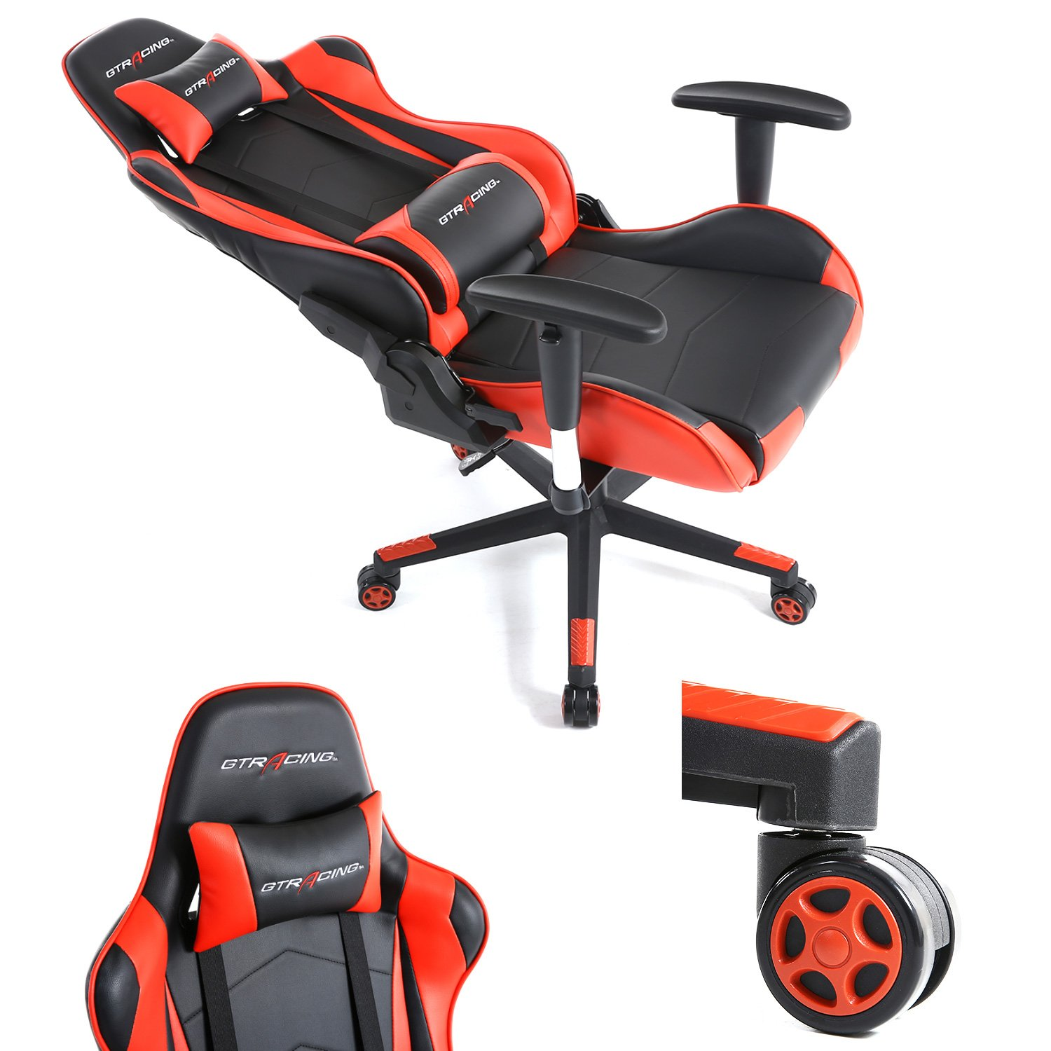 GTracing Ergonomic Office Chair Racing Chair Backrest and Seat Height Adjustment Computer Chair With Pillows Recliner Swivel Rocker Tilt E-sports Chair (Black/Red) by GTRACING (Image #6)