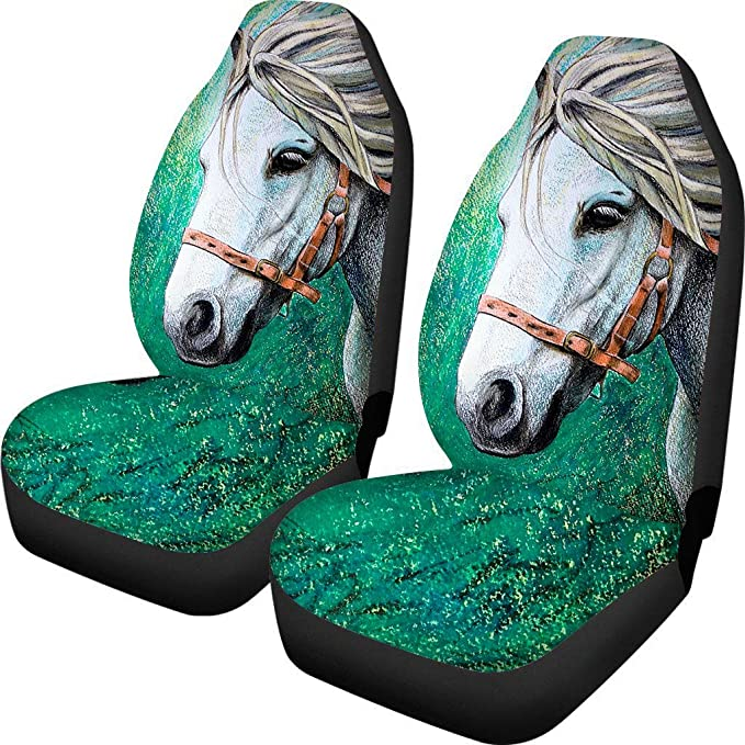 Dreaweet Seat Covers for Car Truck SUV Dirty-Proof Bucket Cover 2piece Set Easy Wrap Cool Wolf and Horse Pattern