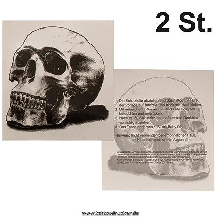 2 x Totenkopf Tattoo XL - schwarzes Totenkopf Tattoo - Skull Tattoo ...