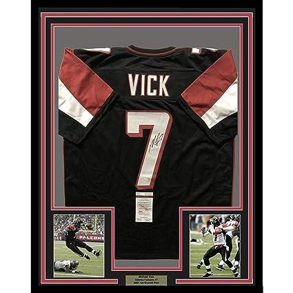 d14b1978475 Framed Autographed Signed Michael Mike Vick 33x42 Atlanta Black Football  Jersey JSA COA