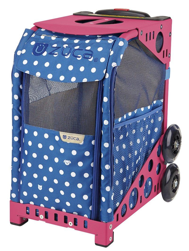 Zuca ZuZuca Rolling Pet Carrier - ''Best In Show'' Insert Bag, Choose Your Frame Color (Pink Frame & Flashing Wheels)