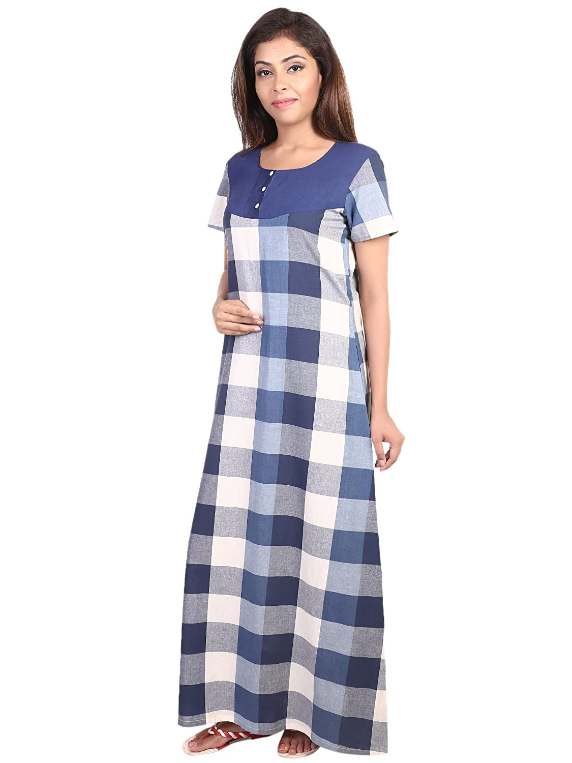 f18b4088c8 9teenAGAIN Checkered Blue Nighty  Amazon.in  Clothing   Accessories