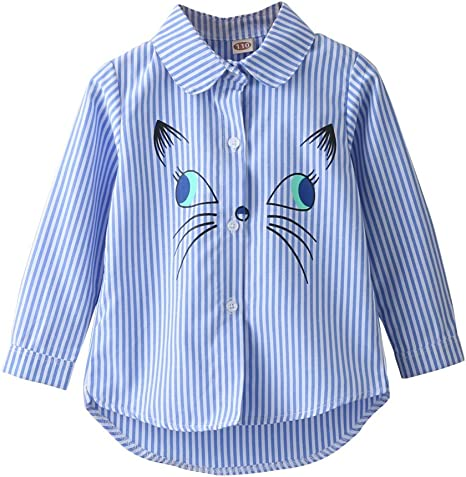 Moresave Camisa de dibujos animados de niña Camisa de solapa de manga larga de blusa casual de verano: Amazon.es: Bebé