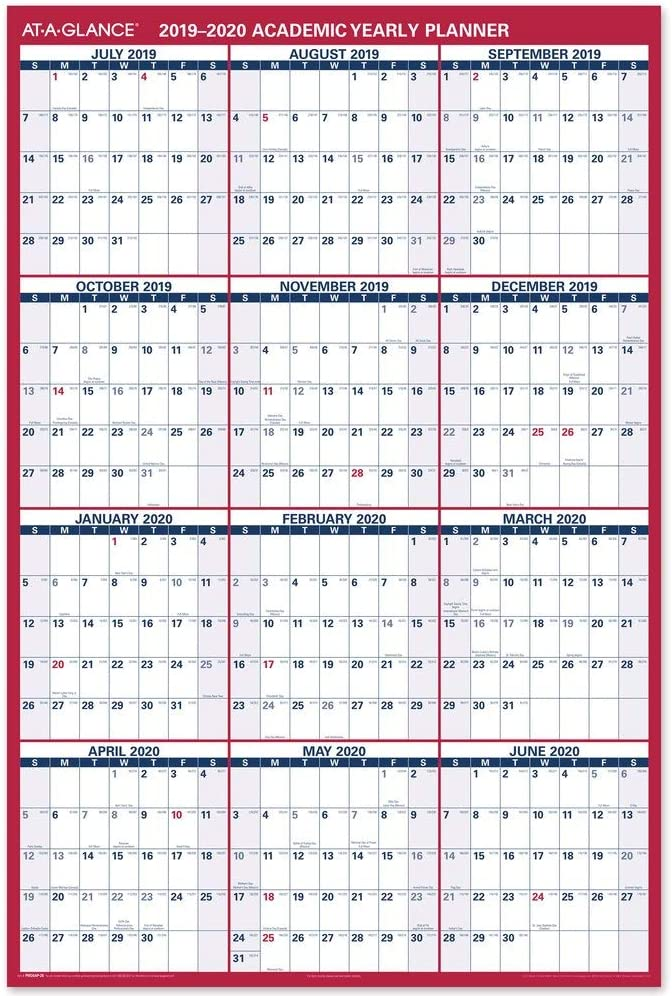 "AT-A-GLANCE 2019-2020 Academic Year Wall Calendar, Jumbo, 32"" x 48"", Erasable, Dry Erase, Reversible, Vertical/Horizontal (PM36AP2820)"