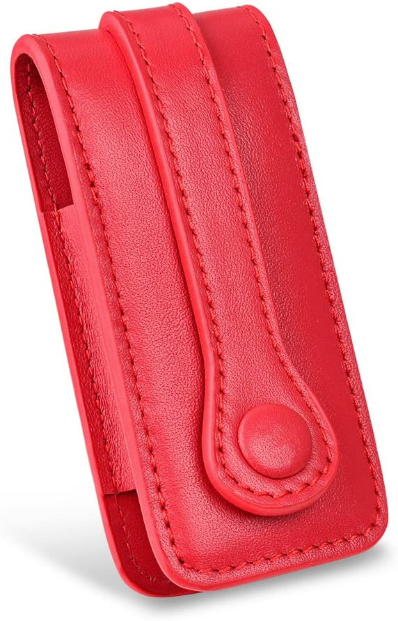 Buffway Key Chain Case Cover Holder Shell for Porsche Cayenne Panamera Macan Key Fob with Luxury Genuine Leather Red Line