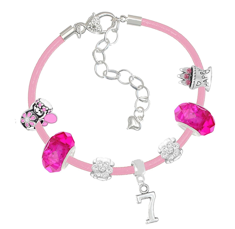 Mä dchen-Armband mit Charm-Anhä nger und Geschenk-Box fü r 4 bis 10 Jahre, Rosa Charm Buddy ® NXG-KZ-5 Pink Leather