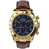 Rolex Daytona Yellow Gold Blue Paul Newman Dial Leather Strap 116518 Box/papers
