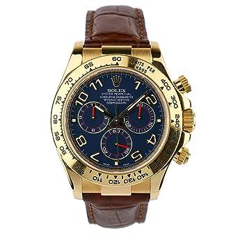 Amazon Com Rolex Daytona Yellow Gold Blue Paul Newman Dial Leather