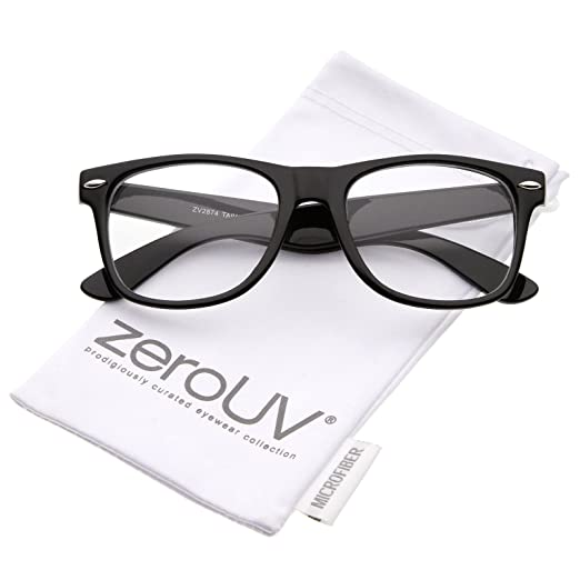 159c00ebee zeroUV - Retro Wide Arm Square Clear Lens Horn Rimmed Eyeglasses 54mm  (Black Clear