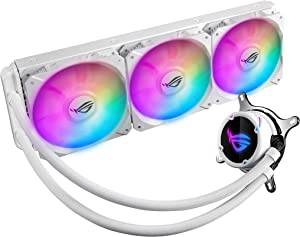 Asus ROG Strix LC 360 All-in-one White Liquid CPU Cooler with Aura Sync, Triple White ROG 120mm addressable RGB Radiator Fans and Reinforced Sleeved tubing